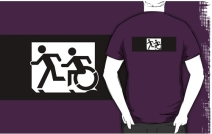 Accessible Means of Egress Icon Exit Sign Wheelchair Wheelie Running Man Symbol by Lee Wilson PWD Disability Emergency Evacuation Adult T-shirt 315
