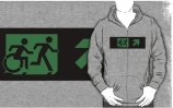Accessible Means of Egress Icon Exit Sign Wheelchair Wheelie Running Man Symbol by Lee Wilson PWD Disability Emergency Evacuation Adult T-shirt 316
