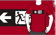Accessible Means of Egress Icon Exit Sign Wheelchair Wheelie Running Man Symbol by Lee Wilson PWD Disability Emergency Evacuation Adult T-shirt 317