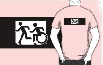 Accessible Means of Egress Icon Exit Sign Wheelchair Wheelie Running Man Symbol by Lee Wilson PWD Disability Emergency Evacuation Adult T-shirt 318