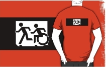 Accessible Means of Egress Icon Exit Sign Wheelchair Wheelie Running Man Symbol by Lee Wilson PWD Disability Emergency Evacuation Adult T-shirt 319