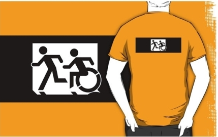 Accessible Means of Egress Icon Exit Sign Wheelchair Wheelie Running Man Symbol by Lee Wilson PWD Disability Emergency Evacuation Adult T-shirt 320
