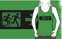 Accessible Means of Egress Icon Exit Sign Wheelchair Wheelie Running Man Symbol by Lee Wilson PWD Disability Emergency Evacuation Adult T-shirt 32