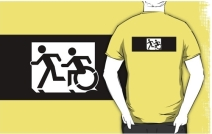 Accessible Means of Egress Icon Exit Sign Wheelchair Wheelie Running Man Symbol by Lee Wilson PWD Disability Emergency Evacuation Adult T-shirt 321