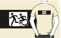 Accessible Means of Egress Icon Exit Sign Wheelchair Wheelie Running Man Symbol by Lee Wilson PWD Disability Emergency Evacuation Adult T-shirt 322
