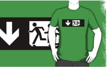 Accessible Means of Egress Icon Exit Sign Wheelchair Wheelie Running Man Symbol by Lee Wilson PWD Disability Emergency Evacuation Adult T-shirt 323
