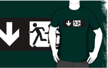 Accessible Means of Egress Icon Exit Sign Wheelchair Wheelie Running Man Symbol by Lee Wilson PWD Disability Emergency Evacuation Adult T-shirt 324