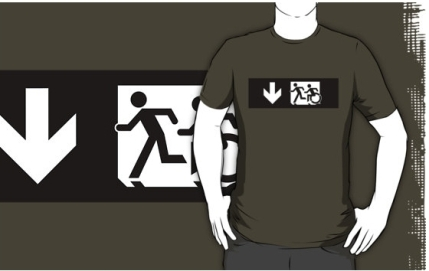 Accessible Means of Egress Icon Exit Sign Wheelchair Wheelie Running Man Symbol by Lee Wilson PWD Disability Emergency Evacuation Adult T-shirt 325