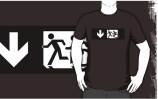 Accessible Means of Egress Icon Exit Sign Wheelchair Wheelie Running Man Symbol by Lee Wilson PWD Disability Emergency Evacuation Adult T-shirt 326