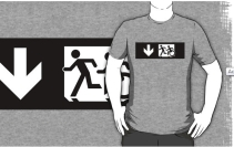 Accessible Means of Egress Icon Exit Sign Wheelchair Wheelie Running Man Symbol by Lee Wilson PWD Disability Emergency Evacuation Adult T-shirt 327