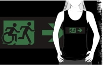 Accessible Means of Egress Icon Exit Sign Wheelchair Wheelie Running Man Symbol by Lee Wilson PWD Disability Emergency Evacuation Adult T-shirt 328