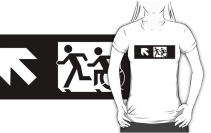 Accessible Means of Egress Icon Exit Sign Wheelchair Wheelie Running Man Symbol by Lee Wilson PWD Disability Emergency Evacuation Adult T-shirt 329