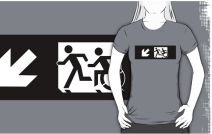 Accessible Means of Egress Icon Exit Sign Wheelchair Wheelie Running Man Symbol by Lee Wilson PWD Disability Emergency Evacuation Adult T-shirt 330