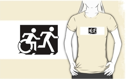 Accessible Means of Egress Icon Exit Sign Wheelchair Wheelie Running Man Symbol by Lee Wilson PWD Disability Emergency Evacuation Adult T-shirt 33