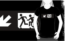 Accessible Means of Egress Icon Exit Sign Wheelchair Wheelie Running Man Symbol by Lee Wilson PWD Disability Emergency Evacuation Adult T-shirt 333