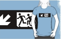 Accessible Means of Egress Icon Exit Sign Wheelchair Wheelie Running Man Symbol by Lee Wilson PWD Disability Emergency Evacuation Adult T-shirt 334