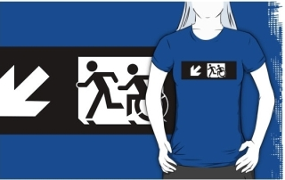 Accessible Means of Egress Icon Exit Sign Wheelchair Wheelie Running Man Symbol by Lee Wilson PWD Disability Emergency Evacuation Adult T-shirt 335