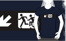 Accessible Means of Egress Icon Exit Sign Wheelchair Wheelie Running Man Symbol by Lee Wilson PWD Disability Emergency Evacuation Adult T-shirt 336