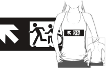 Accessible Means of Egress Icon Exit Sign Wheelchair Wheelie Running Man Symbol by Lee Wilson PWD Disability Emergency Evacuation Adult T-shirt 337
