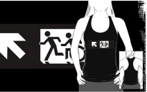 Accessible Means of Egress Icon Exit Sign Wheelchair Wheelie Running Man Symbol by Lee Wilson PWD Disability Emergency Evacuation Adult T-shirt 338
