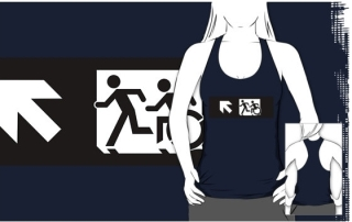 Accessible Means of Egress Icon Exit Sign Wheelchair Wheelie Running Man Symbol by Lee Wilson PWD Disability Emergency Evacuation Adult T-shirt 339