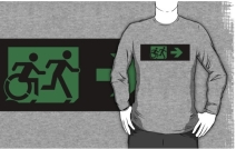Accessible Means of Egress Icon Exit Sign Wheelchair Wheelie Running Man Symbol by Lee Wilson PWD Disability Emergency Evacuation Adult T-shirt 340