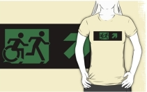 Accessible Means of Egress Icon Exit Sign Wheelchair Wheelie Running Man Symbol by Lee Wilson PWD Disability Emergency Evacuation Adult T-shirt 34