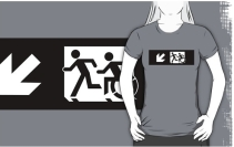 Accessible Means of Egress Icon Exit Sign Wheelchair Wheelie Running Man Symbol by Lee Wilson PWD Disability Emergency Evacuation Adult T-shirt 341