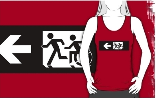 Accessible Means of Egress Icon Exit Sign Wheelchair Wheelie Running Man Symbol by Lee Wilson PWD Disability Emergency Evacuation Adult T-shirt 342