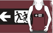 Accessible Means of Egress Icon Exit Sign Wheelchair Wheelie Running Man Symbol by Lee Wilson PWD Disability Emergency Evacuation Adult T-shirt 343