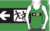 Accessible Means of Egress Icon Exit Sign Wheelchair Wheelie Running Man Symbol by Lee Wilson PWD Disability Emergency Evacuation Adult T-shirt 344