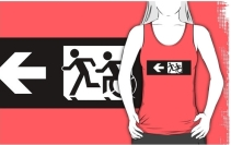 Accessible Means of Egress Icon Exit Sign Wheelchair Wheelie Running Man Symbol by Lee Wilson PWD Disability Emergency Evacuation Adult T-shirt 345