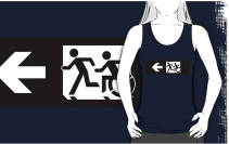 Accessible Means of Egress Icon Exit Sign Wheelchair Wheelie Running Man Symbol by Lee Wilson PWD Disability Emergency Evacuation Adult T-shirt 346