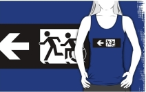 Accessible Means of Egress Icon Exit Sign Wheelchair Wheelie Running Man Symbol by Lee Wilson PWD Disability Emergency Evacuation Adult T-shirt 347