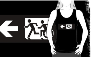 Accessible Means of Egress Icon Exit Sign Wheelchair Wheelie Running Man Symbol by Lee Wilson PWD Disability Emergency Evacuation Adult T-shirt 348