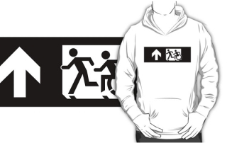 Accessible Means of Egress Icon Exit Sign Wheelchair Wheelie Running Man Symbol by Lee Wilson PWD Disability Emergency Evacuation Adult T-shirt 349