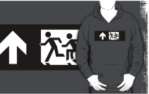 Accessible Means of Egress Icon Exit Sign Wheelchair Wheelie Running Man Symbol by Lee Wilson PWD Disability Emergency Evacuation Adult T-shirt 350