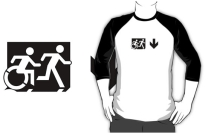 Accessible Means of Egress Icon Exit Sign Wheelchair Wheelie Running Man Symbol by Lee Wilson PWD Disability Emergency Evacuation Adult T-shirt 35
