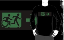 Accessible Means of Egress Icon Exit Sign Wheelchair Wheelie Running Man Symbol by Lee Wilson PWD Disability Emergency Evacuation Adult T-shirt 352