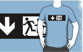 Accessible Means of Egress Icon Exit Sign Wheelchair Wheelie Running Man Symbol by Lee Wilson PWD Disability Emergency Evacuation Adult T-shirt 353