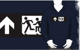Accessible Means of Egress Icon Exit Sign Wheelchair Wheelie Running Man Symbol by Lee Wilson PWD Disability Emergency Evacuation Adult T-shirt 354