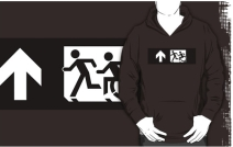 Accessible Means of Egress Icon Exit Sign Wheelchair Wheelie Running Man Symbol by Lee Wilson PWD Disability Emergency Evacuation Adult T-shirt 355