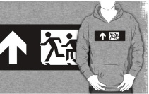 Accessible Means of Egress Icon Exit Sign Wheelchair Wheelie Running Man Symbol by Lee Wilson PWD Disability Emergency Evacuation Adult T-shirt 356