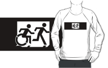 Accessible Means of Egress Icon Exit Sign Wheelchair Wheelie Running Man Symbol by Lee Wilson PWD Disability Emergency Evacuation Adult T-shirt 357