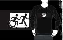 Accessible Means of Egress Icon Exit Sign Wheelchair Wheelie Running Man Symbol by Lee Wilson PWD Disability Emergency Evacuation Adult T-shirt 358