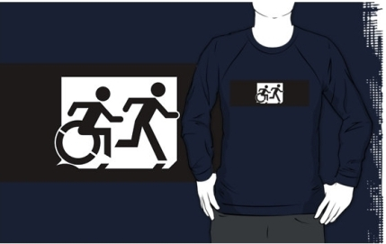 Accessible Means of Egress Icon Exit Sign Wheelchair Wheelie Running Man Symbol by Lee Wilson PWD Disability Emergency Evacuation Adult T-shirt 359
