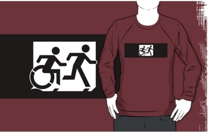 Accessible Means of Egress Icon Exit Sign Wheelchair Wheelie Running Man Symbol by Lee Wilson PWD Disability Emergency Evacuation Adult T-shirt 360