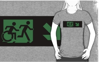 Accessible Means of Egress Icon Exit Sign Wheelchair Wheelie Running Man Symbol by Lee Wilson PWD Disability Emergency Evacuation Adult T-shirt 36