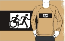 Accessible Means of Egress Icon Exit Sign Wheelchair Wheelie Running Man Symbol by Lee Wilson PWD Disability Emergency Evacuation Adult T-shirt 361