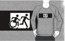 Accessible Means of Egress Icon Exit Sign Wheelchair Wheelie Running Man Symbol by Lee Wilson PWD Disability Emergency Evacuation Adult T-shirt 362